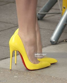 Emilia Fox attends the TRIC Awards at Grosvenor House Hotel at The Grosvenor House Hotel on March 2016 in London, England. Pretty Shoes, Beautiful Shoes, Cute Shoes, Strappy Sandals Heels, Pumps Heels, Stiletto Heels, Hot High Heels, Sexy Heels, Yellow Heels