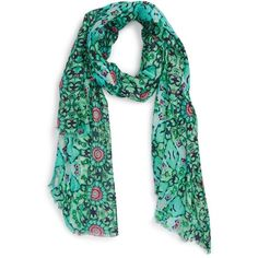 Women's Lulla Collection By Bindya 'Petals Wall' Print Scarf ($48) ❤ liked on Polyvore featuring accessories, scarves, coral blue, floral scarves, floral print scarves, print scarves, floral shawl and patterned scarves