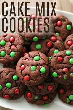 These Cake Mix Christmas Cookies are a festive, quick treat that is perfect for a holiday party, as a gift for neighbors, or to leave out for Santa on Christmas Eve. Christmas Cookie Exchange, Christmas Desserts, Christmas Treats, Christmas Baking, Christmas Cookies, Christmas Foods, Christmas Candy, Christmas Recipes, Christmas Eve