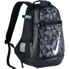 Nike Vapor Select 2.0 Graphic Backpack Black/White BA5357-010. Ventilated cleat pocket keeps gear clean and organized. Sternum strap enhances comfort across chest. Fuel pocket securely stores your water bottle. Dual-zippered main compartment provides ample storage space. 2 side exterior sleeves securely store bats.