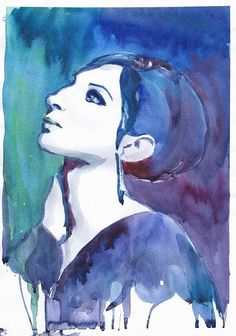 Barbara Streisand, Watercolor painting, illustration, Celebrity Portraits, art print, girl painting,  living room decor