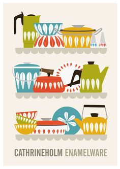 Cathrineholm kitchen decor, mid century poster, retro kitchen, colorful, cooking art, scandinavian, A2. $43,00, via Etsy.