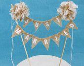"Rustic wedding cake, Burlap Ivory Pompom bunting""Just Married"" Banner B251- rustic wedding bunting decoration"
