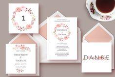 """Hochzeitseinladung zum Ausdrucken """"Wildrosen"""" von The Happy Paper Box auf DaWanda.com"""
