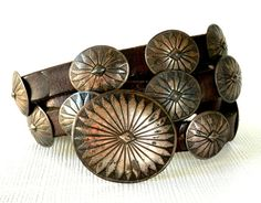 1930s Navajo Sterling Concho Leather Belt signed.