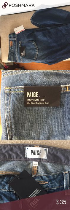 Paige Jeans Jimmy Crop Mid Rise Boyfriend Jeans Brand new with tags Paige Jimmy Jimmy Crop Mid Rise Boyfriend Jeans. Size 28. PAIGE Jeans Boyfriend