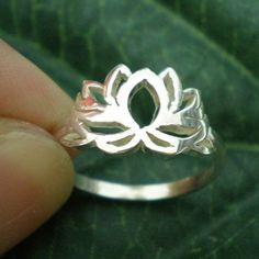 Om Lotus Silver Ring Sterling silver ring Flower ring by yhtanaff, $32.00