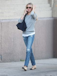 Cameron Diaz wears her nude leather and black toe cap ballerina shoes by French Sole.