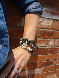 SALE Safari Black Faceted Agate Gemstone Gold Plated Oval Pave Bead Stacking Stretch Bracelet with Clover Charm 1005 via Etsy