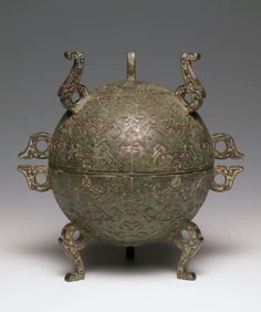 Covered Spherical Food Vessel (Dui) with Geometric Decor, late 5th century BCE. Zhou dynasty, Warring States period, 475-221 BCE. China. Unidentified Artist | Harvard Art Museums