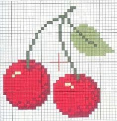 cross stitch chart / pattern / patrón punto de cruz cerezas