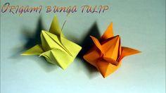 Cara melipat kertas origami bunga tulip tiup 3 dimensi