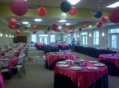 navy and fuschia wedding reception   eggplant wedding reception