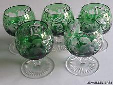 "FIVE BRANDY GLASSES NACHTMANN CRYSTAL PATTERN TRAUBE GREEN EMERALD height 3""1/8"