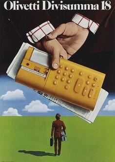 Egidio Bonfante, poster artwork for calculator Divisumma 18, 1973. Product design: Mario Bellini for Olivetti