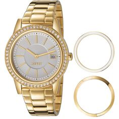 Esprit Trinity Gold. 3 interchangeable bezels allows you to alternate styles: from sparkly and glamorous, to a casual crisp white look.