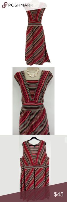 """26/28 4X PRETTY STRIPED SUMMER DRESS Plus Size This flattering striped summer dress is sexy, trendy, and fashionable! Size: 26/28 Slip on/ slip off Flattering striped print Stretchy, super comfortable fabric Measurements: Bust (armpit to armpit):  55"""" relaxed - stretches to 74"""" Waist: 54"""" relaxed - stretches to 72"""" Hips:  74"""" relaxed Length: 45.5""""  (top of shoulder to bottom hem)  Condition:  PRISTINE CONDITION! Fabric Content: 95% Polyester  5% Spandex Fabric Care:  Machine Wash Lane Bryant…"""