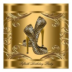 Elegant Black and Gold 50th Birthday Party Announcements