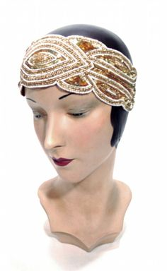 The Tiffany Bandeau Bronze : Beaded 1920's Style Gowns, Art Deco Gowns, 20's Flapper Fringe Dresses, Vintage Daywear, Hollywood Reproductions..... from LeLuxe Clothing