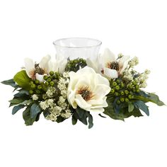 Nearly Natural Magnolia Candelabrum Silk Flower Arrangement ($52) ❤ liked on Polyvore