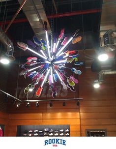 Nike meets art with the Shoe Chandelier at RookieUSA (808 Columbus Ave, NYC). RookieUSA is a new retail experience for the young athlete bringing quality and style to life on and off the court. Facebook like us at https://www.facebook.com/RookieUSA