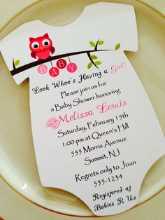 baby shower invitation onesie owl theme for girl printed on matte paper