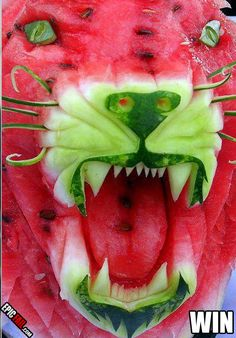 Watermelon Fruit Carving fun! You can find the garnish knives,tools, books and DVD's to work with fruit and vegetable carving at CulinarySupplies.Org located in Carroll, Iowa your online foodie store!