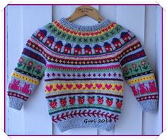 Ravelry: Guri-genser pattern by Guri Østereng Halvorsen - free patternRavelry: Guri-genser pattern by Guri Østereng Halvorsen. Free pattern for colorwork sweater, only in Norwegian at the moment, but charts are universal.Hjerte GO`H Design: Barnege Knitting For Kids, Double Knitting, Free Knitting, Baby Knitting, Baby Patterns, Knit Patterns, Baby Boy Cardigan, Fair Isle Knitting Patterns, Knit Cardigan Pattern