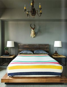 Rustic furniture + Hudson's Bay blanket =  cool guest room. (Note the pronghorn antelope.) I think I would use the blanket folded at the foot of the bed.