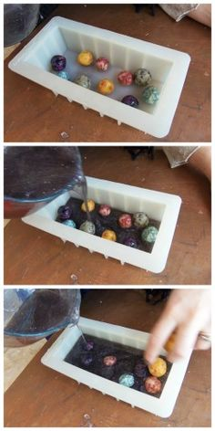 Galaxy soaps - the soap balls inside the loaf soap look like planets or asteroids! part 1