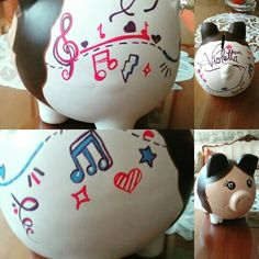 Alcancia violetta Disney Piggybank Guardianes de tus sueños Instagram @guardianesdetussueños Whatsapp 3147756646 Violetta Disney, Cooking Timer, Pigs, Four Square, Decorations, Cute, Instagram, Pink, Piglets