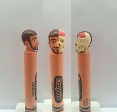 Head/Skull Crayon Carving by CharacterCrayons on Etsy