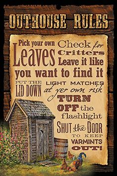 Outhouse Rules Humorous Wood Sign Humorous rustic wood signs for your wild side! Ready to hang, these thick, black-finished wood signs are sure to lighten the mood. Outhouse Bathroom Decor, Cabin Bathrooms, Primitive Bathrooms, Bathroom Humor, Bathroom Signs, Outdoor Bathrooms, Bath Decor, Bathroom Ideas, Rustic Wood Signs