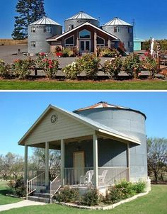 Grain silos dot the countryside, a symbol of simple rural living with their simple shapes and metal-clad exteriors. But they aren't just for storing grain – they can be marvelous homes and hotels as well. The Silo at the Gruene Homestead Inn has been transformed into a 1 bedroom loft apartment, while the Abbey Road Farm Bed & Breakfast has three grain silos incorporated into one large structure.