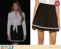 Rachel's black skirt with white stripe and white bow front blouse on Glee.  Outfit Details: http://wornontv.net/29484/ #Glee