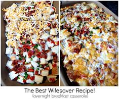 Overnight Breakfast Casserole with Bacon! Wifesaver Breakfast is a great make ahead casserole! Perfect for holidays, it can be made with sausage or ham too.
