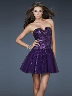 Wishesbridal Sequined Purple Strapless Short #Tulle A Line #Cocktail Homecoming Dress Clf0014