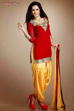 Latest Punjabi Patiala Salwar With Short Kurta Collection 2014 For Girls