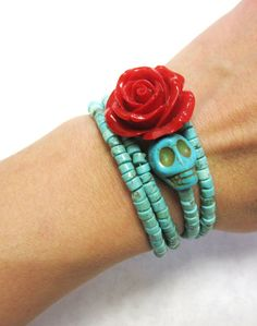 Day Of The Dead Bracelet Sugar Skull Cuff Red by sweetie2sweetie, $27.99