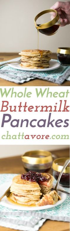 These whole wheat pancakes are easy and every bit as delicious as pancakes made with white flour. They're a perfect weekend breakfast!   Recipe from Chattavore.com