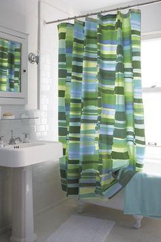 Marimekko Tilkkula Seaglass Shower Curtain | Crate and Barrel