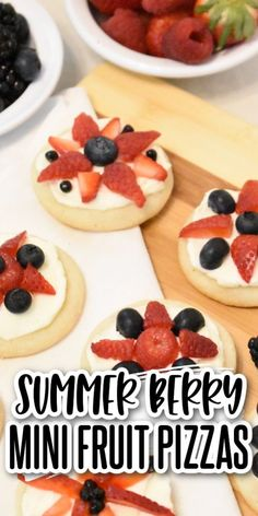 These red white & blue mini fruit pizzas are bursting with summer berry flavor! Sugar cookies topped with cream cheese icing & delicious berries! Perfect for the 4th, Memorial Day, or any picnic! Delicious Cookie Recipes, Yummy Cookies, Oatmeal Cookies, Chocolate Chip Cookies, Peanut Butter Cookies, Sugar Cookies, No Bake Desserts, Easy Desserts, Family Recipes