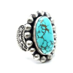 Navajo Turquoise Ring Carico Lake Turquoise stone set in Sterling Silver