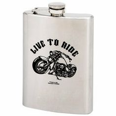"New Maxam 8oz Stainless Steel Hip Flask With Screw Down Cap Live To Ride Motorcycle Design by Maxam. $6.99. Measures 3-3/4"" X 5-1/4"". LIVE TO RIDE Motorcycle Design. Maxam® stainless steel flasks provide sleek, sturdy containment and transportation for your spirit of choice. Features LIVE TO RIDE motorcycle design. Measures 3-3/4"" x 5-1/4"". Boxed"