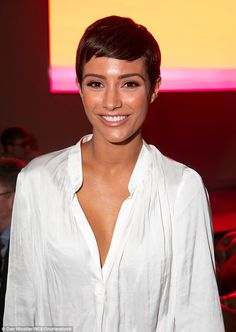 Glowing: She styled her brunette locks into her signature pixie cut hairstyle as she added a slick of glamorous make-up Pixie Haircut Gallery, Pixie Bob Haircut, Short Pixie Haircuts, Short Bob Hairstyles, Short Hair Cuts, Short Hair Styles, Curly Pixie, Teen Hairstyles, Casual Hairstyles