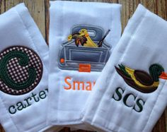 Set of 3 Personalized Burp Cloths - Diaper Cloths - Baby Boy - Duck Hunting -Monogrammed - Hunting Burp Cloth Diapers, Burp Rags, Baby Burp Cloths, Hunting Nursery, Hunting Baby, Toddler Gifts, Baby Gifts, Baby Boys, Godchild Gift