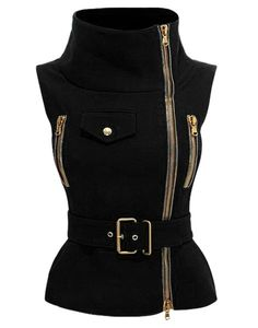 Stylish Stand-Up Collar Sleeveless Zipper Embellished Solid Color Waistcoat For Women