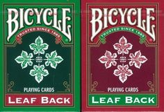 Bicycle Leaf Back Playing Cards 2 Deck Set 1 Green & 1 Red by Bicycle. $5.15. This is a reprint of a late 1940's design. This is one of the rare backs that do not depict anything related to bicycles,wheels or any other form of transportation.  This deck features standard faces and court cards. The finish is air-Cushion and the stock is traditional Bicycle Stock.  Two standard jokers come with each deck and one is in color.