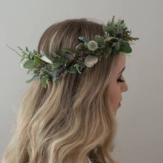 Greenery Crown- Eucalyptus Crown- Dried Flower Crown- Hair Vine- Sage Headband- Bridal Crown- Organic Wedding Headpiece- Green Halo – Make Flower Crown Wedding, Bridal Crown, Bridal Updo, Wedding Updo, Wedding Flowers, Flower Crowns, Flower Crown Hairstyle, Crown Hairstyles, Wedding Hairstyles