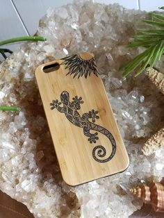 Zentangle Gecko bamboo wood iPhone case for iPhone 6 iPhone